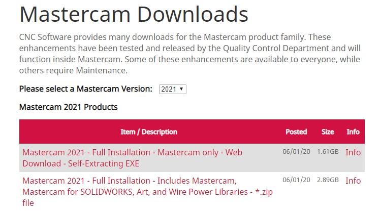 download mastercam 2021